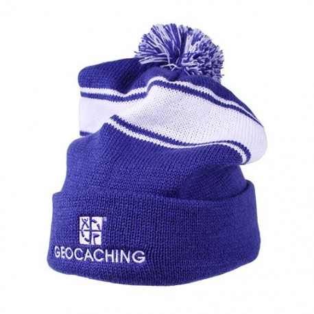 Geocaching Pom Beanie- Royal/White